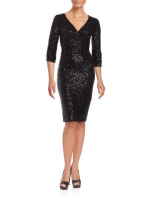 Three-Quarter-Sleeve Sequined Sheath Dress by Nue By Shani