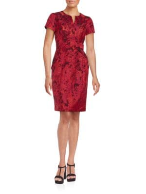 Short-Sleeve Printed Sheath Dress by Nue By Shani