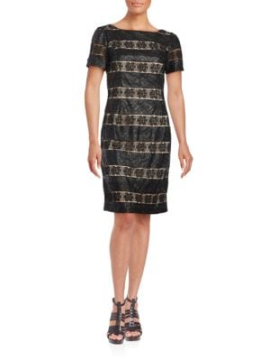 Photo of Nue By Shani Lace-Trimmed Faux Leather Sheath Dress