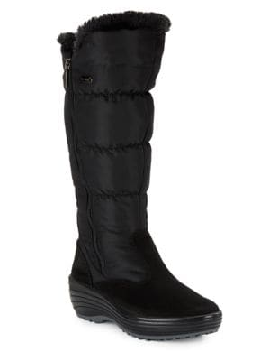 Amanda Faux Fur-Accented Mid-Calf Boots by Pajar