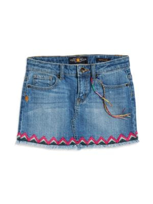 Girls Sofia Fringe Denim Skirt