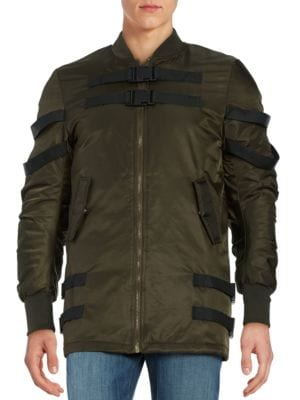 Buckle-Accented Bomber Jacket by American Stitch