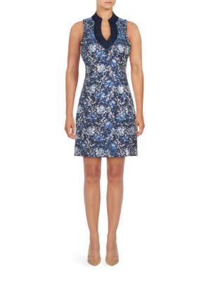 Sleeveless Floral Jacquard Sheath Dress by Belle Badgley Mischka