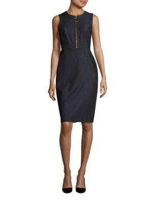 Zip-Accented Sheath Dress by Calvin Klein