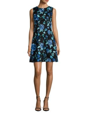 Sleeveless Floral Printed A-Line Dress by Eliza J