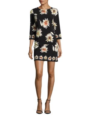 Three Quarter Sleeve Floral Printed Shift Dress by Taylor