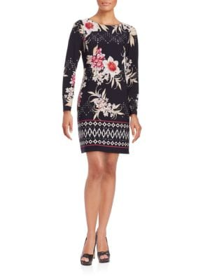 Long Sleeve Floral Printed Dress by Vince Camuto