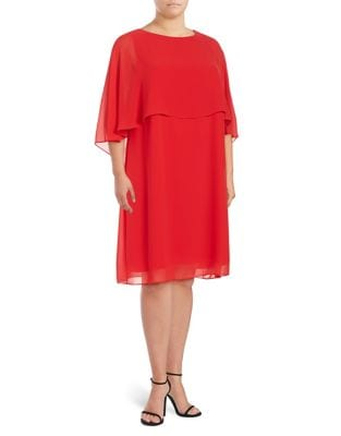 Chiffon-Overlay Shift Dress by Vince Camuto Plus