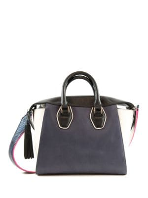 Jodie Tote Leather and Faux Leather Satchel by Sam Edelman