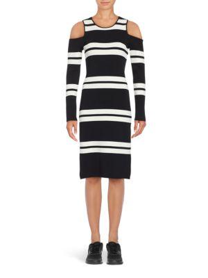 Cold Shoulder Striped Sweater Dress by Eliza J