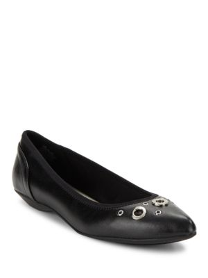 Orene Grommet Embellished Point Toe Flats by Anne Klein