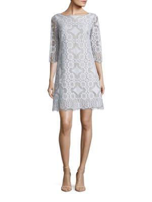 Three-Quarter-Sleeve Lace Shift Dress by Eliza J