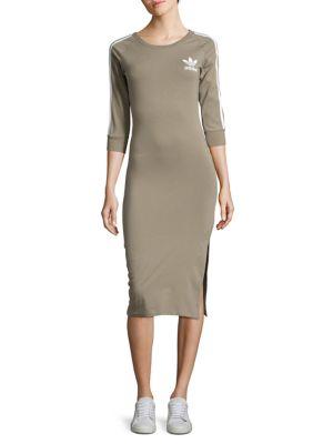 Stripe-Accented Knit Midi Dress 500049273683