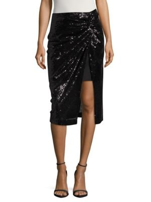Sequined Mock-Wrap Skirt by Badgley Mischka