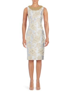 Beaded Metallic Brocade Sheath Dress by Badgley Mischka
