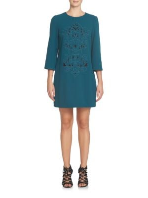 Anya Three Quarter Sleeve Embroidered Shift Dress by Cynthia Steffe