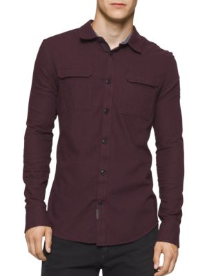 Long-Sleeve Heathered Shirt by Calvin Klein Jeans