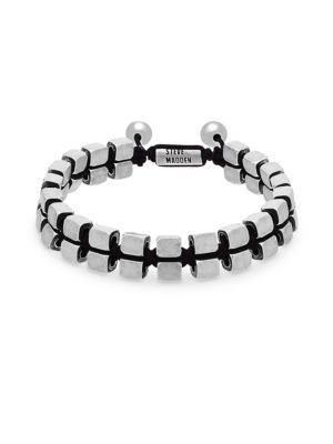 Stainless Steel Cube Beaded Slider Bracelet by Steve Madden