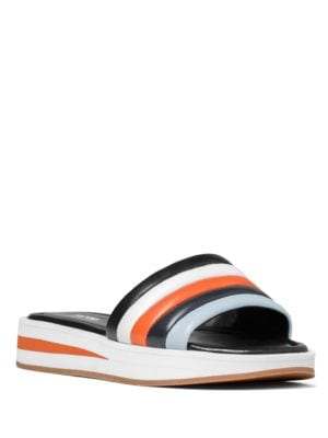 Conrad Leather and Patent Leather Slide Sandals by MICHAEL MICHAEL KORS