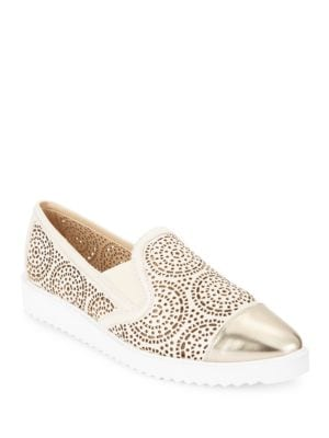 Cora Cutout Metallic Leather Slip-On Sneakers by Karl Lagerfeld Paris