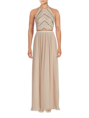 Two-Piece Beaded Halter Top & Pleated Maxi Skirt by Aidan Aidan Mattox