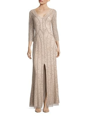 Three-Quarter Sleeve Sequin Gown by Aidan Aidan Mattox