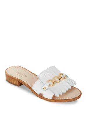 Brie Kilt Leather Slip-On Sandals by Kate Spade New York