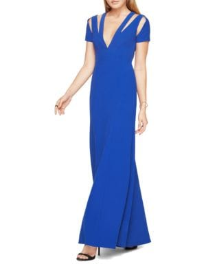 Estrella Short Sleeve Cutout Gown by BCBGMAXAZRIA