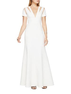 Estrella V-Neck Cutout Gown by BCBGMAXAZRIA