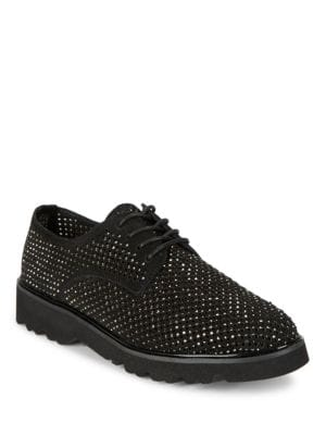 Connie Embellished Suede Lace-Up Dobby Shoes by Donald J Pliner