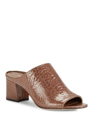 Ellis Open Toe Crocodile Embellished Mule Heels by Donald J Pliner