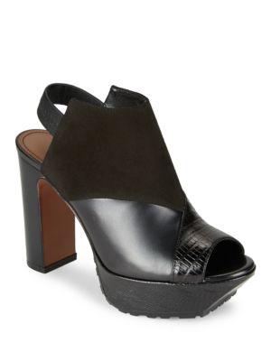 Photo of Feliz Suede and Leather Platform Heels by Donald J Pliner - shop Donald J Pliner shoes sales
