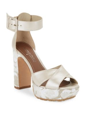 Franci Sequined Metallic Leather Platform Heels by Donald J Pliner