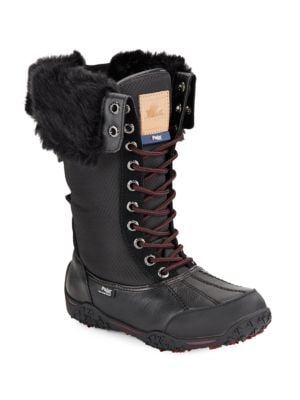 Faux Fur-Cuff Waterproof Leather Boots by Pajar