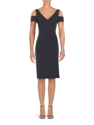 Crepe Cold-Shoulder Sheath Dress by Vera Wang