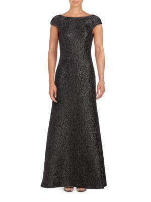 Short Sleeve Crinkled Metallic Jacquard Gown by Vera Wang