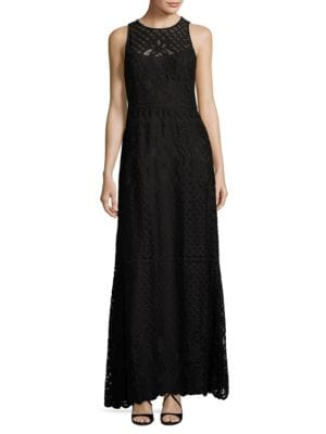 Lace Topped Illusion Dress by Vera Wang