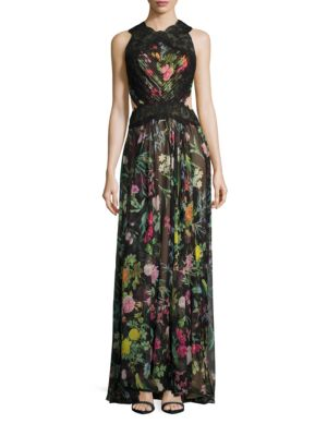 Sleeveless Floral Printed Gown by Tadashi Shoji