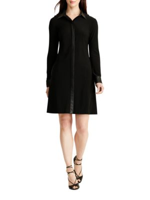 Faux-Leather-Trim Shirtdress by Lauren Ralph Lauren