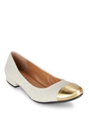 Fiana Metal Toe Leather Flats by Calvin Klein