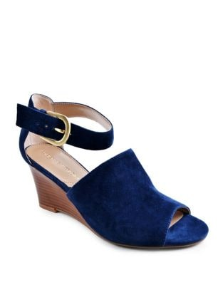 Ranta Two-Piece Kid Suede Wedge Sandals by Adrienne Vittadini