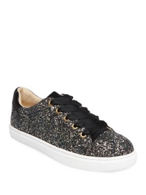 Rae Glittered Lace-Up Sneakers by Betsey Johnson