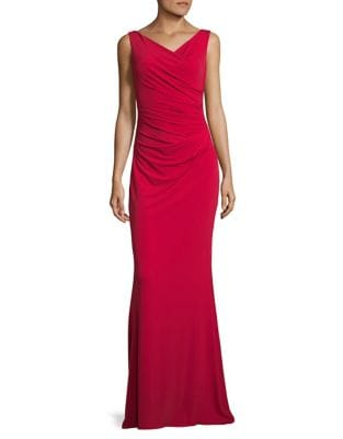 Ruched Sleeveless Gown by Calvin Klein