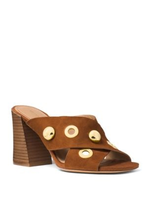 Brianna Studded Suede Crisscross Mules 500049505167