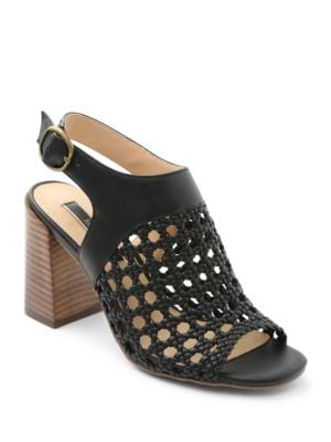 Sandria Stacked Heel Woven Sandals by Kensie