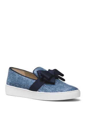 Val Denim Bow Skate Sneakers by Michael Kors Collection