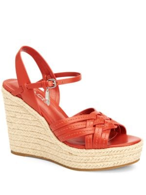 Dottie Calf Leather Espadrille Wedge Sandals by COACH