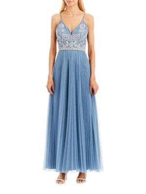 V-Neck Floral Embroidered Pleated Skirt Gown by Nicole Miller New York
