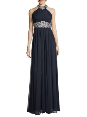 Embroidered Halter Gown by Betsy & Adam