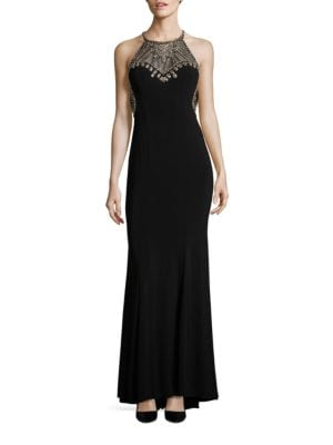 Sleeveless Embellished A-Line Gown by Betsy & Adam